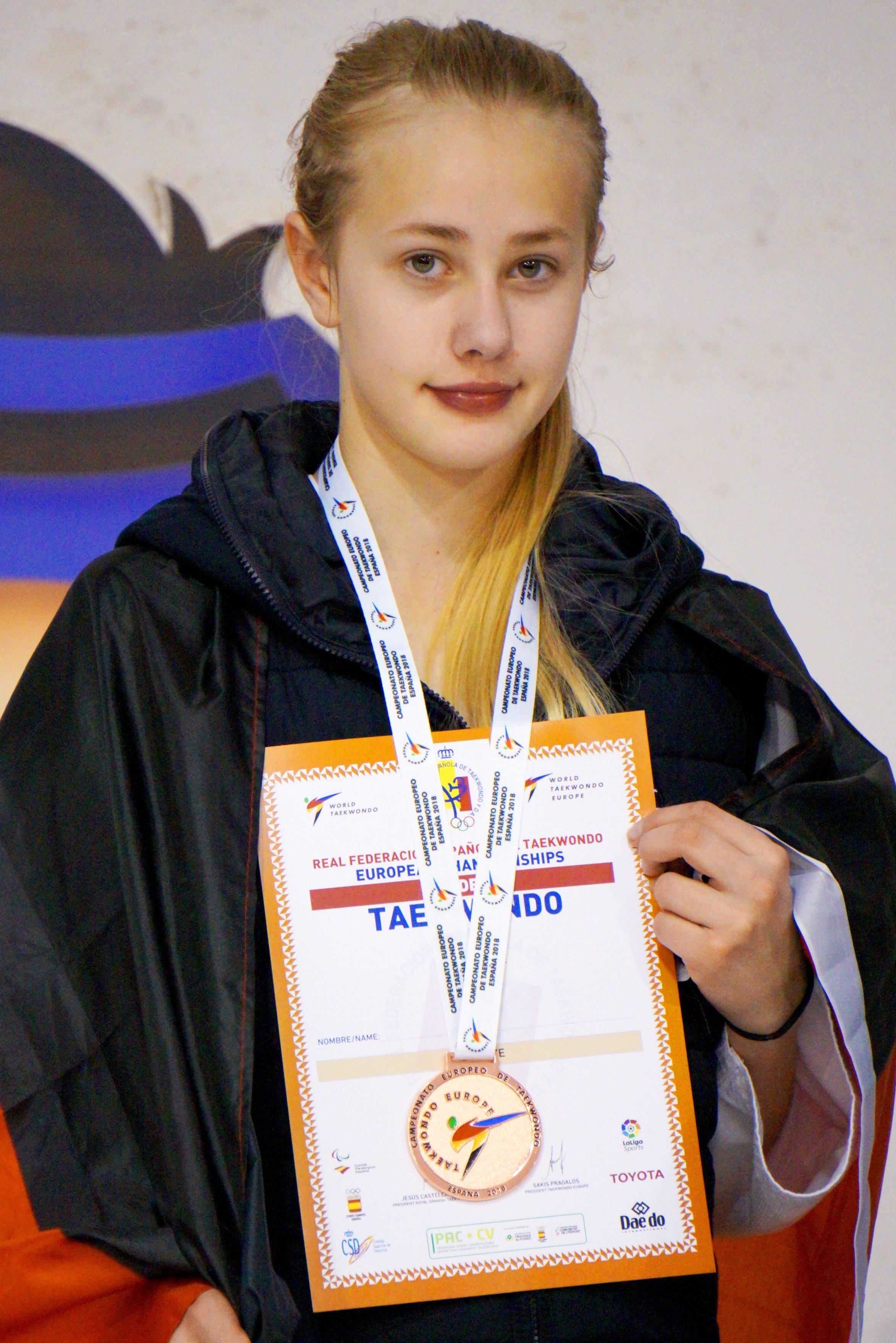Nina Krüger bei der Siegerehrung der U15-EM 2018