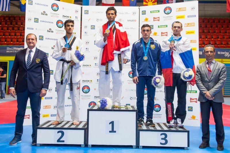 Europameisterschaft 2016 Montreux - Siegerehrung mit Servet Tazegül und Hamza Adnan Karim
