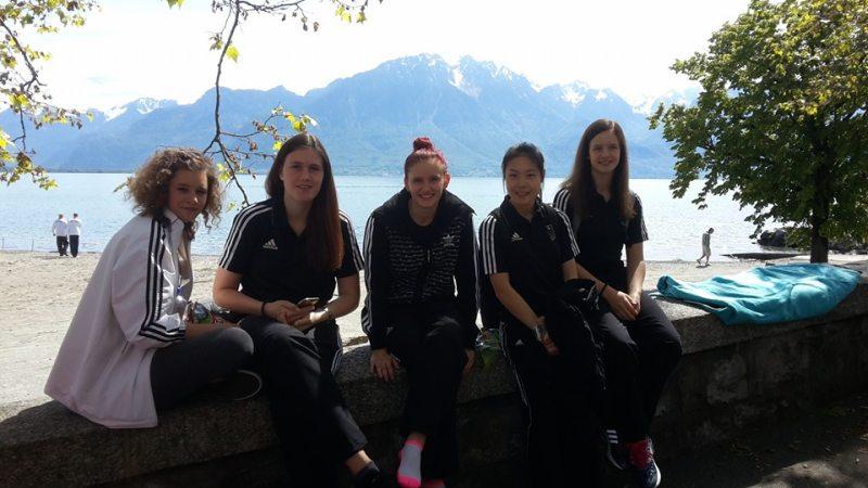 Europameisterschaft 2016 Montreux - Lorena Brandl, Roxana Nothaft, Shae-Rom Kim, Vanessa Körndl und Roxanas Schwester Ricarda