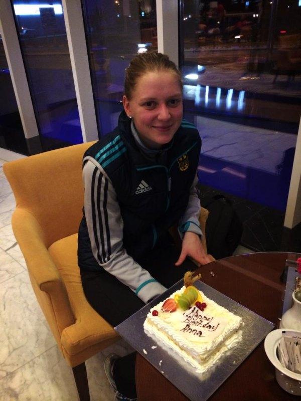 Fujairah Open 2014 in Fudschaira - Anna-Lena Frömming mit Geburtstagstorte