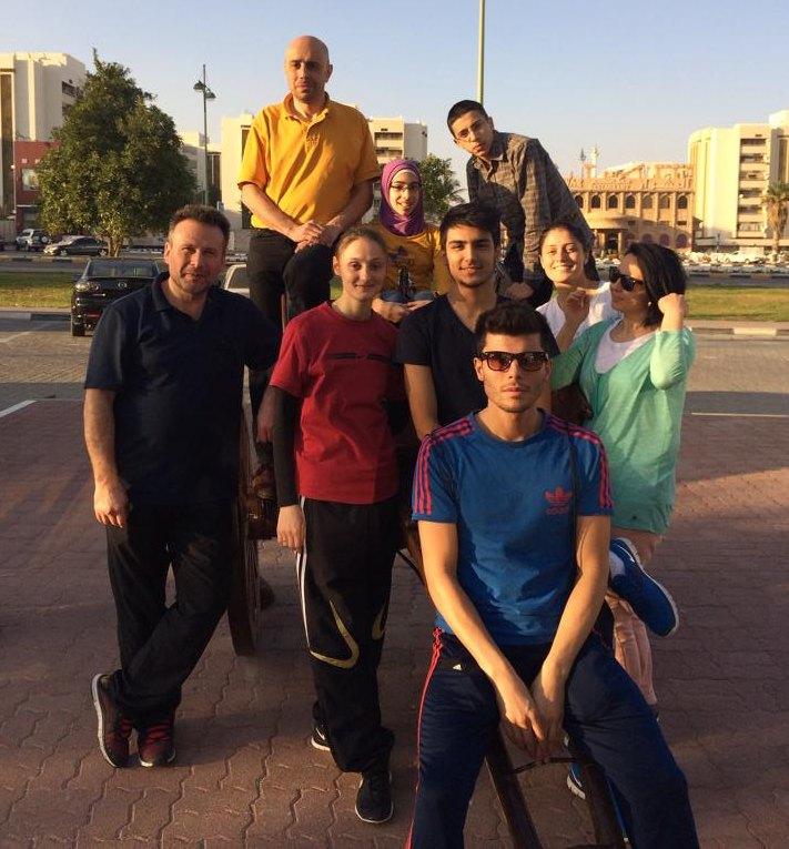 Fujairah Open 2014 in Fudschaira - Trainer Mustafa Atalar, Jihad Saqr, Natascha Mitrovits, Rahaf Saqr, Enes Acikel, Osayd Saqr, Tayfun Yilmazer, Burcin Kayhan und Hayat Gülec