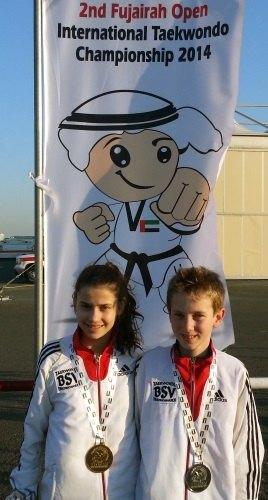 Fujairah Open 2014 in Fudschaira - Celine Schmidt und Marvin Pelcz mit ihren Medaillen