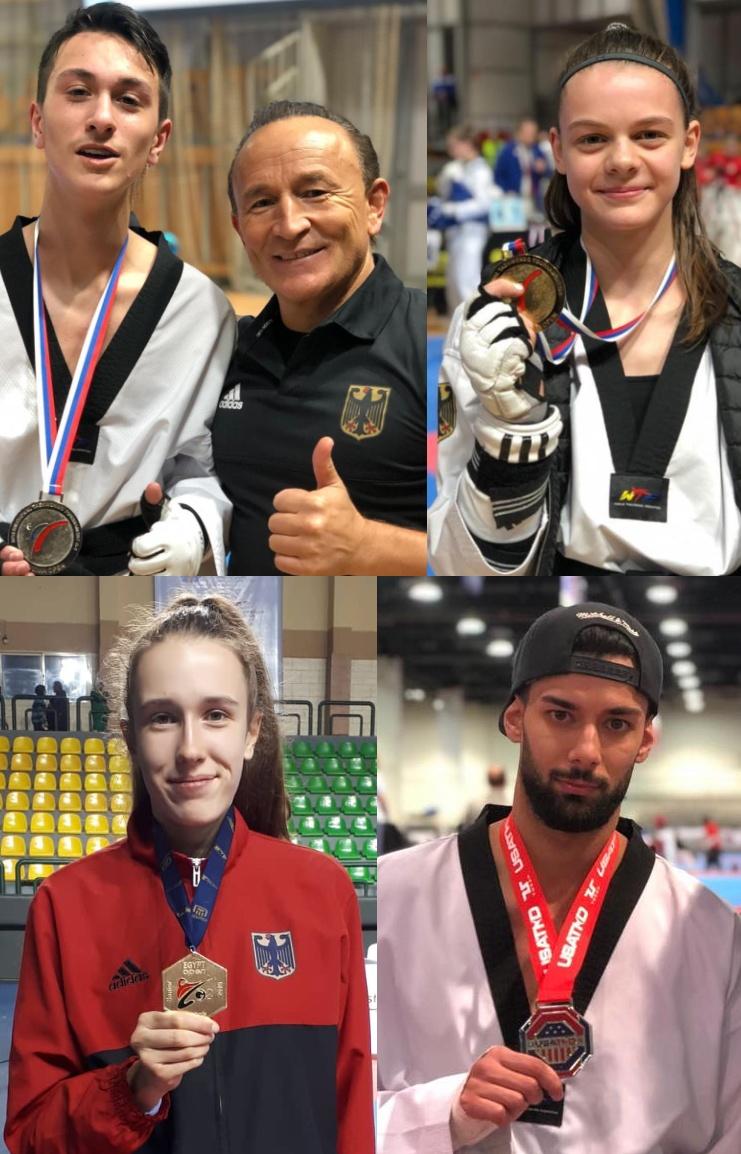 Emre Tepe, Roja Rezaie, Alema Hadžić und Tahir Güleç mit ihren Medaillen