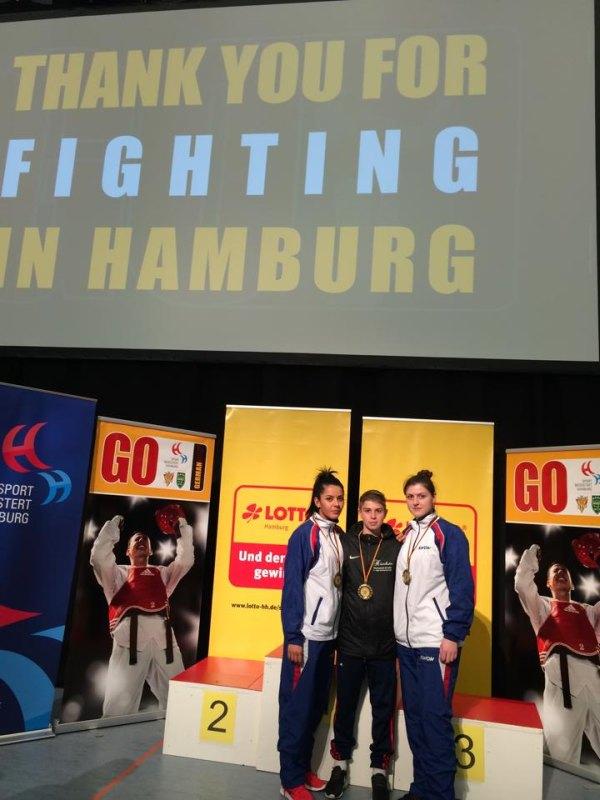 German Open 2014 in Hamburg - Rabia Gülec, Kevin Rasch und Katharina Weiss mit ihren Medaillen