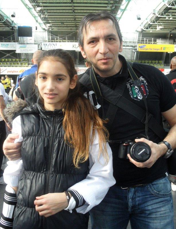 Internationales Kinderturnier Sindelfingen 2014 - Tatiana Miccoli mit ihrem Vater Moreno Miccoli