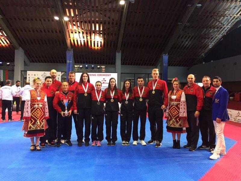 Junioren-U21-Europameisterschaft 2017 in Sofia - Die Medaillengewinner und Trainer des deutschen Teams