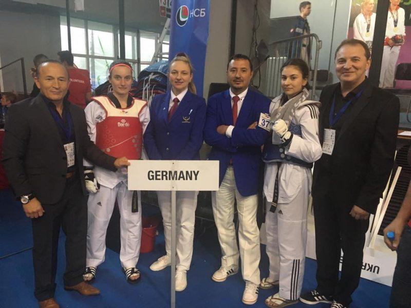 Junioren-U21-Europameisterschaft 2017 in Sofia - Madeline Folgmann und Ela Aydin mit Özer Gülec und Nurettin Yilmaz