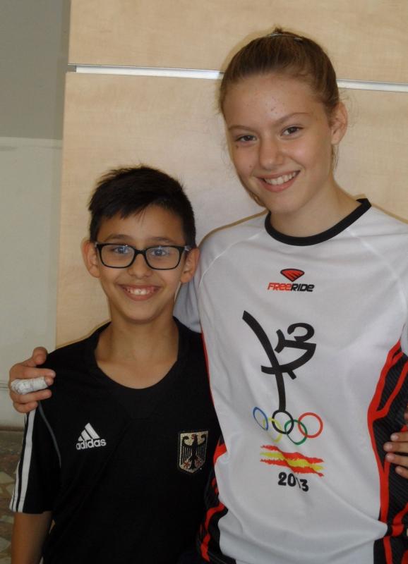 Kadetten-(U15)-Europameisterschaft 2013 in Bukarest - Panagiotis Pragalos mit Lidia Fernandez Ruiz