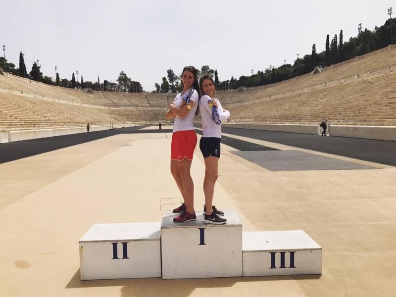 Presidents Cup 2017 in Athen - Bianca Walkden und Jade Jones mit ihren Medaillen im antiken Olympiastadion
