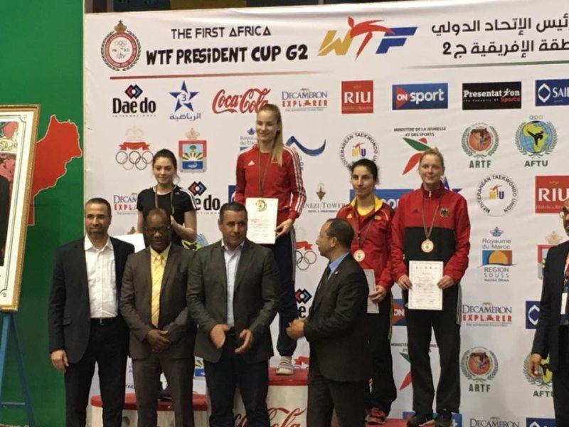 Presidents Cup Africa 2017 in Agadir - Anna-Lena Frömming bei der Siegerehrung