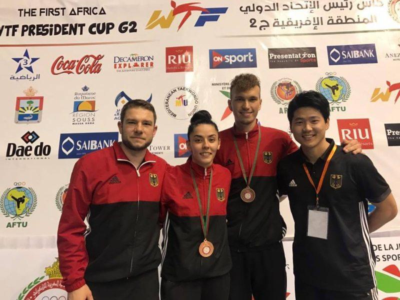 Presidents Cup Africa 2017 in Agadir - Rabia Gülec und Alexander Bachmann mit ihren Medaillen