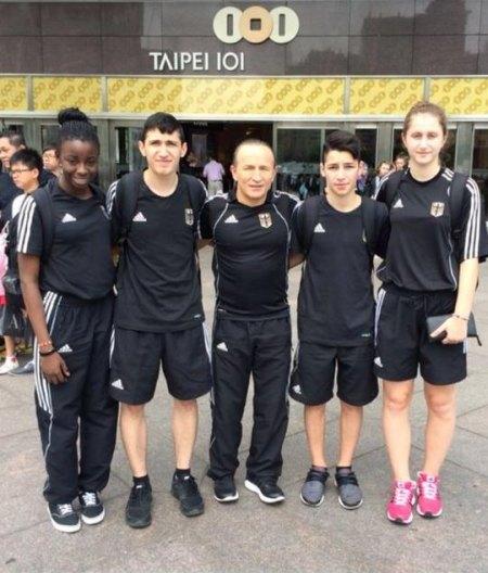 Qualifikationsturnier für die Olympischen Jugend-Spiele 2014 in Taipeh - Rhonda Nat, Mehmet Yorulmaz, Disziplin-Bundestrainer Özer Gülec, Yunus Koca und Ekaterina Derev