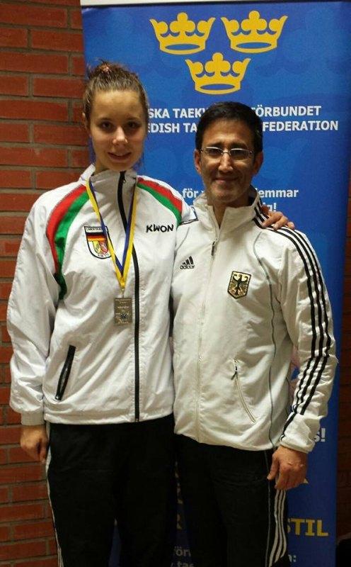 Trelleborg Open 2014 in Trelleborg - Silbermedaillengewinnerin Yanna Schneider mit Damen-Bundestrainer Carlos Esteves