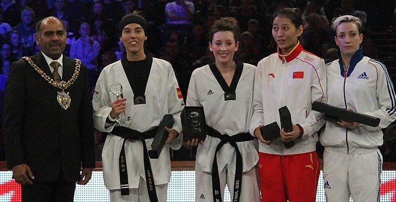 WTF World Grand Prix 2013 in Manchester - Eva Calvo und Jade Jones bei der Siegerehrung