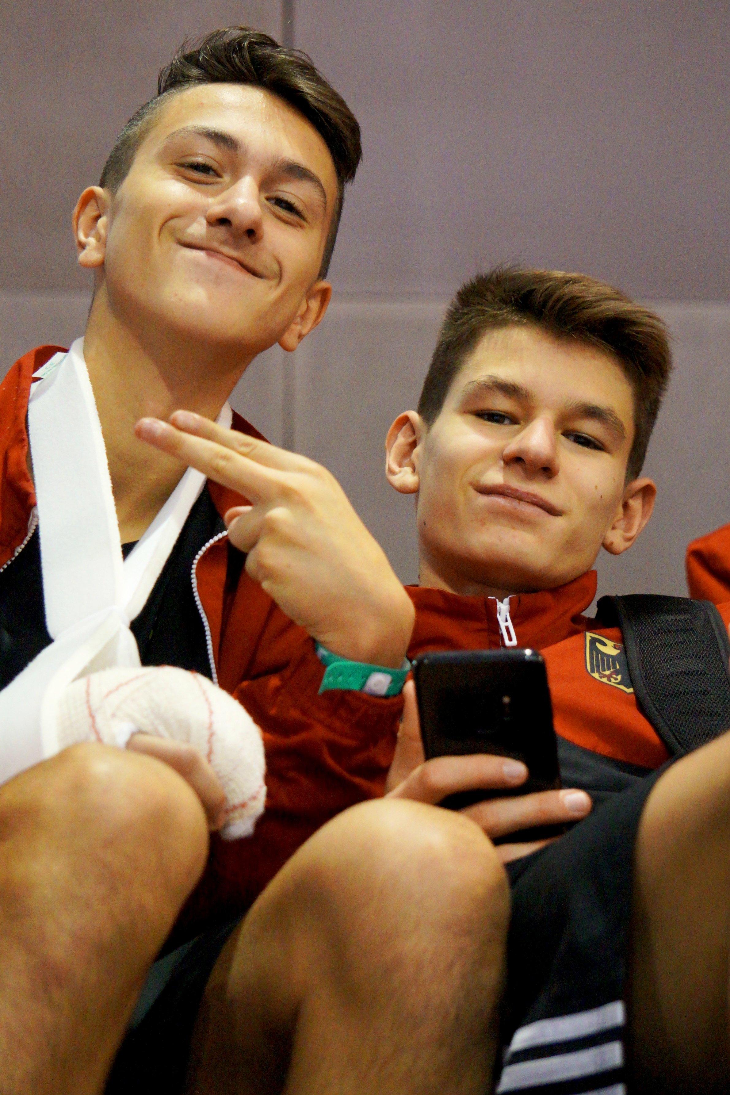 Emre Tepe und Phillip Davids als Zuschauer bei der Kadetten-EM 2018