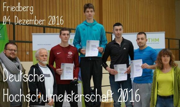 Deutsche Hochschulmeisterschaft 2016 in Friedberg - Titel