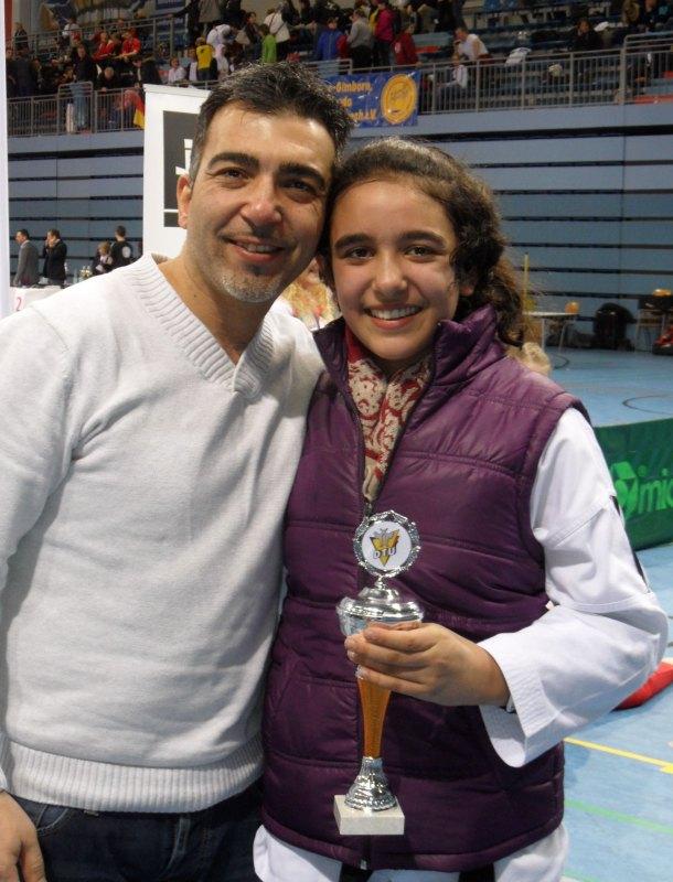 Deutsche Meisterschaft der Kadetten 2014 in Gummersbach - Selina Öztürk mit ihrem Vater Özgür Öztürk