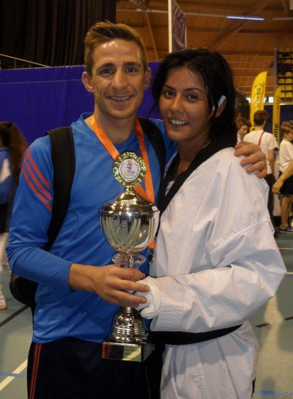 Dutch Open 2014 in Eindhoven - Rabia Gülec mit ihrem Siegerpokal und Daniel Manz
