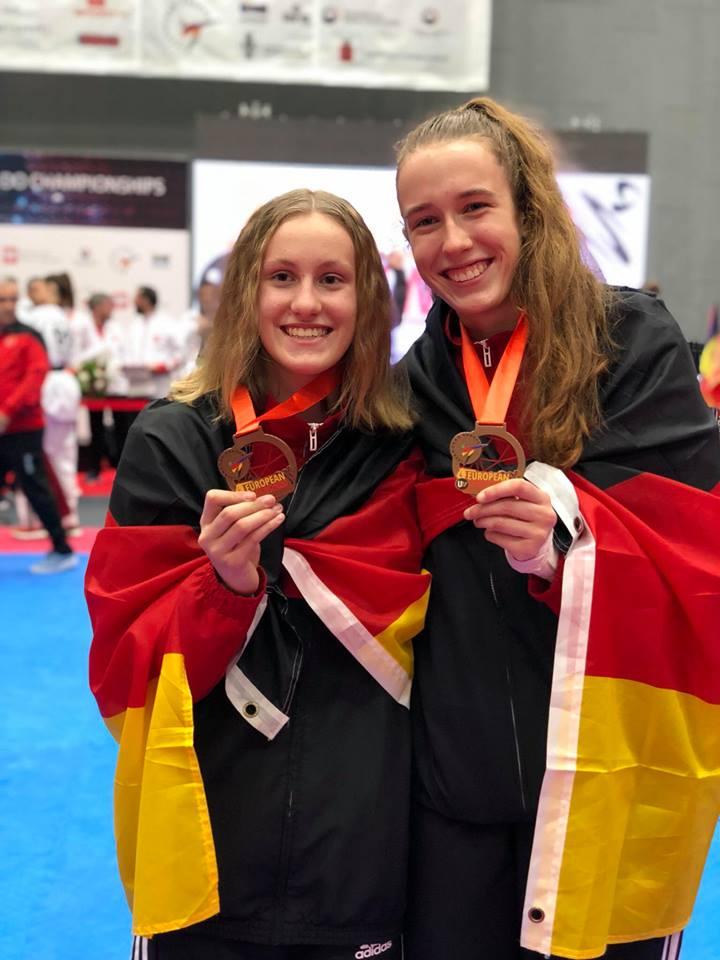 Alema Hadžić und Laura Göbel mit ihren Bronzemedaillen bei der U21-EM 2018