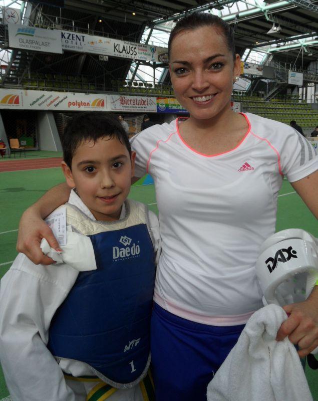 Internationales Kinderturnier Sindelfingen 2013 - Muhammed Karabektas mit Coach Vera Komrsova