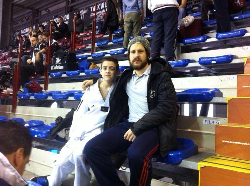 Italienische Meisterschaft der Kadetten 2014 Neapel - Jordan Caputo mit Coach Orcun Öztürk