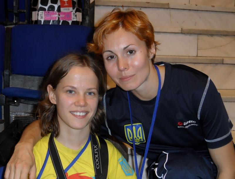 Kadetten-(U15)-Europameisterschaft 2013 in Bukarest - Behinderten-Weltmeisterin Viktoriia Marchuk mit ihrer Trainerin Yuliya Volkova