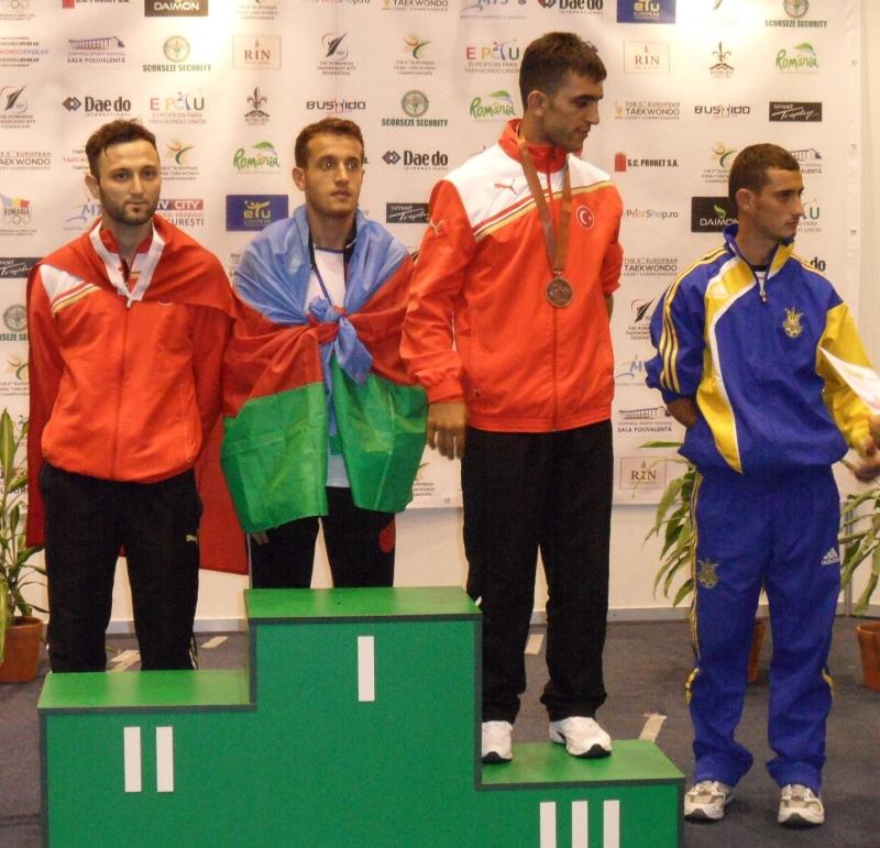 Kadetten-(U15)-Europameisterschaft 2013 in Bukarest - Hasim Celik bei der Siegerehrung