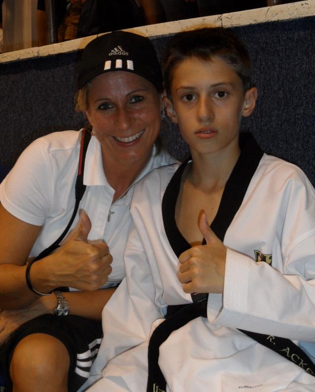 Kadetten-(U15)-Europameisterschaft 2013 in Bukarest - René Ackermann mit seiner Mutter Steffi