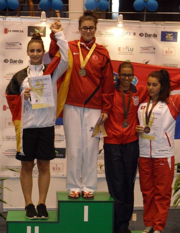 Kadetten-(U15)-Europameisterschaft 2013 in Bukarest - Sophia Karamangiolis bei der Siegerehrung