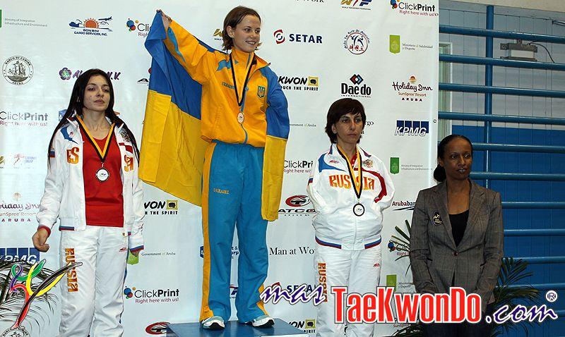 TKD Özer erfüllt ukrainischer Sportlerin den Traum von der Teilnahme an der Behinderten-WM - Viktoriia Marchuk bei der Siegerehrung der Behinderten-WM in Aruba