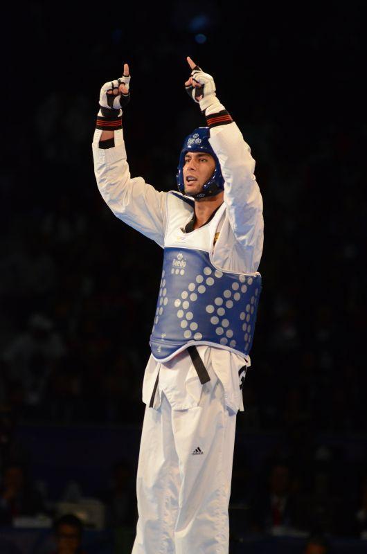Tahir Gülec triumphiert nach seinem Sieg im WM-Finale
